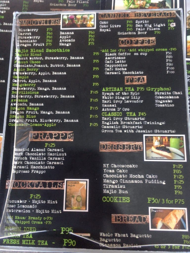 Italian restaurant menu in Baguio