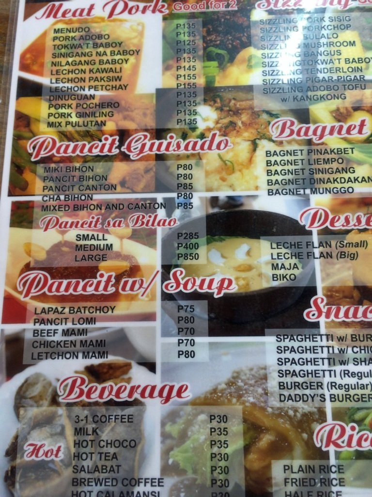 Daddy's Restaurant in Baguio philippines menu