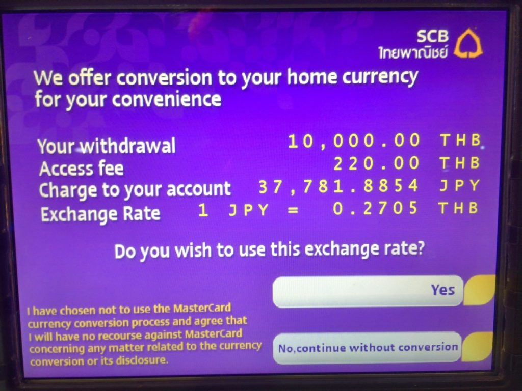 ATM in Bangkok Thailand about conversion