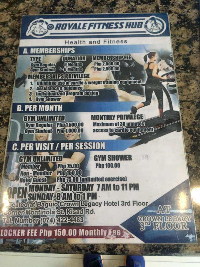 Fitness gym in Baguio Philippines menu