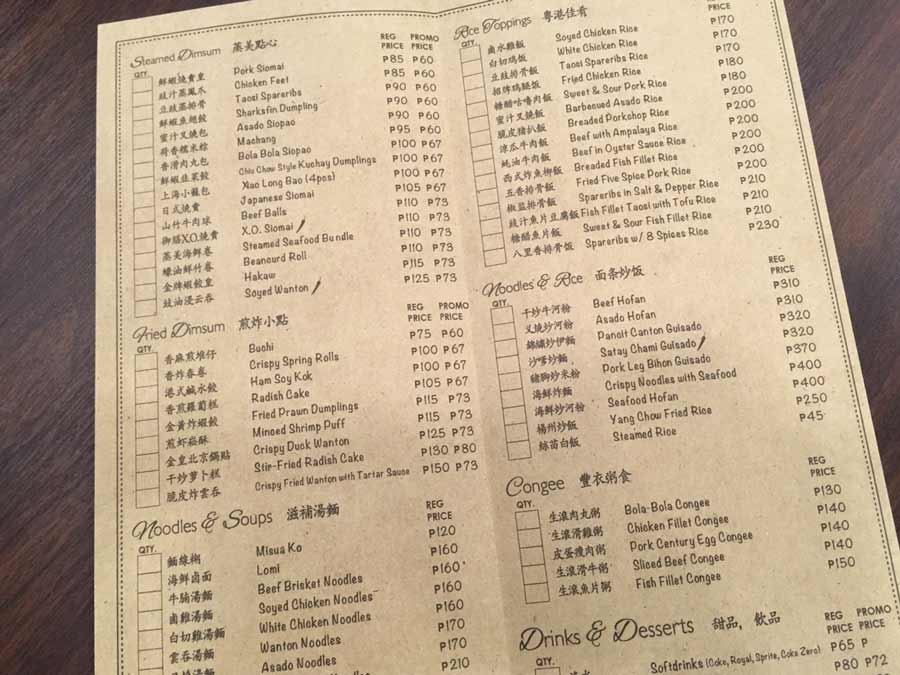 Baguio Chinese restaurant KING CHEF menu