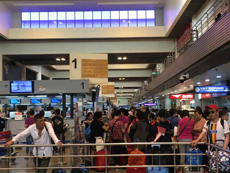 混雑しているドンムアン空港