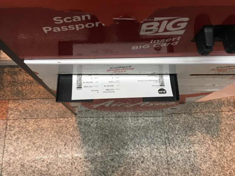 ドンムアン空港 キオスクで搭乗券印刷