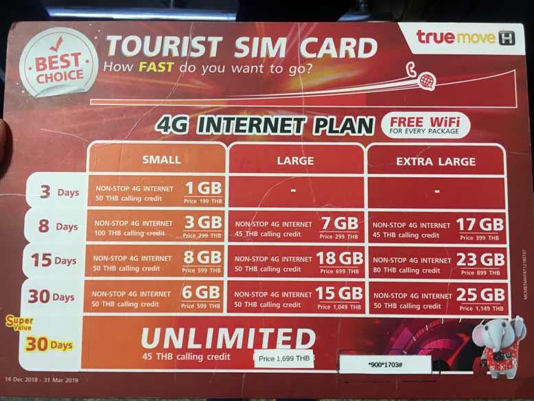 Bangkok Airport SIM card true move
