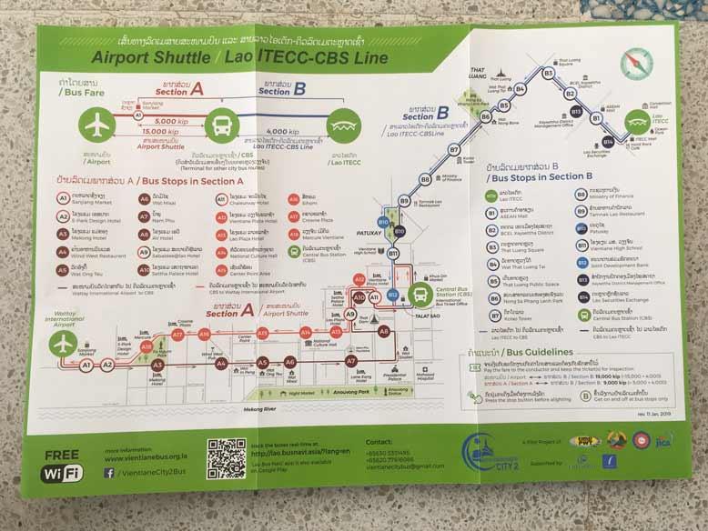 ビエンチャン空港バスの地図
