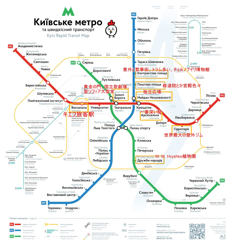 キエフのメトロ路線図