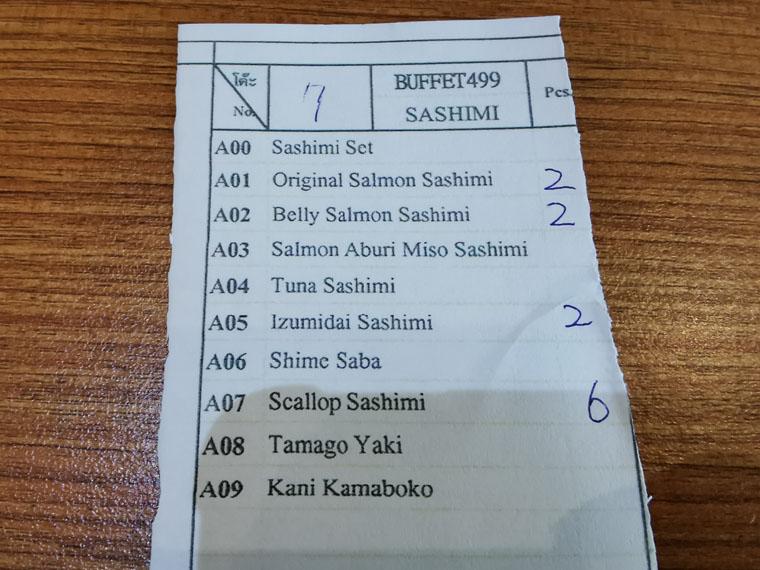 バンコクアロイ寿司のメニュー